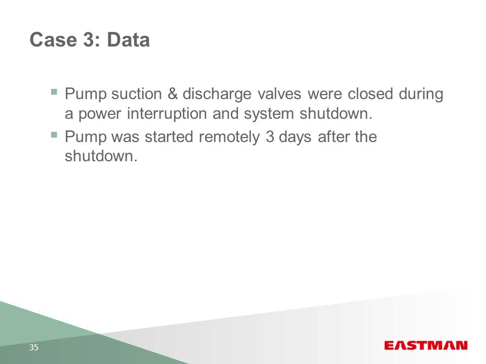 Case 3: Data Pump suction & discharge valves were closed during a power interruption and system shutdown.