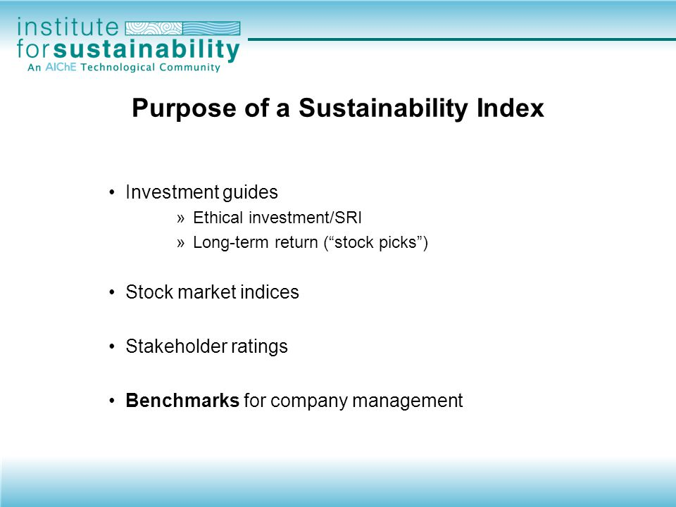 Purpose of a Sustainability Index