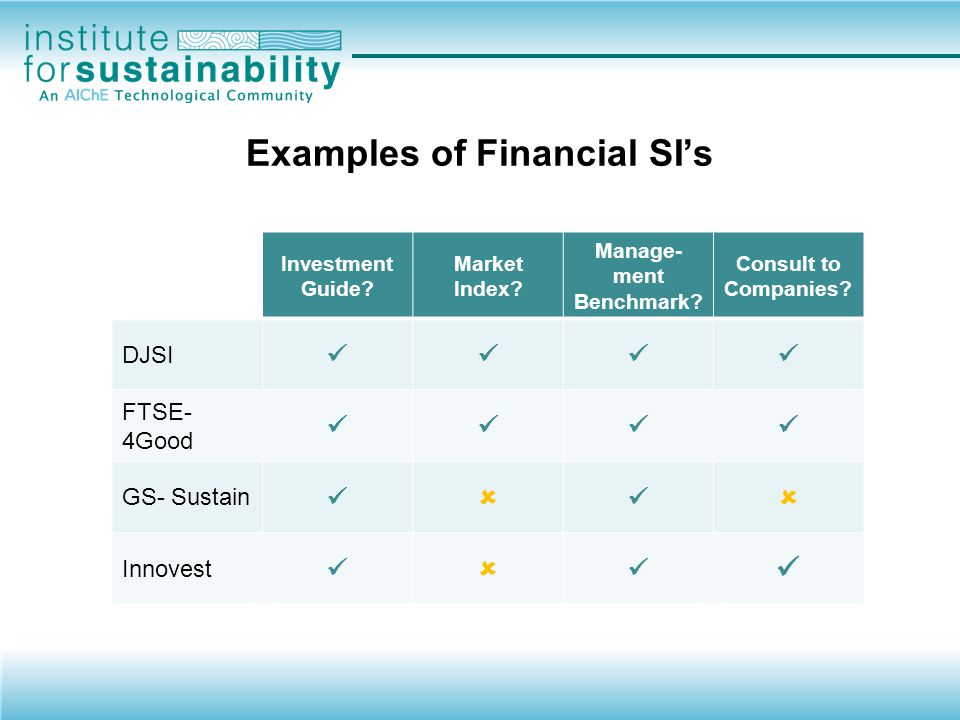 Examples of Financial SI's