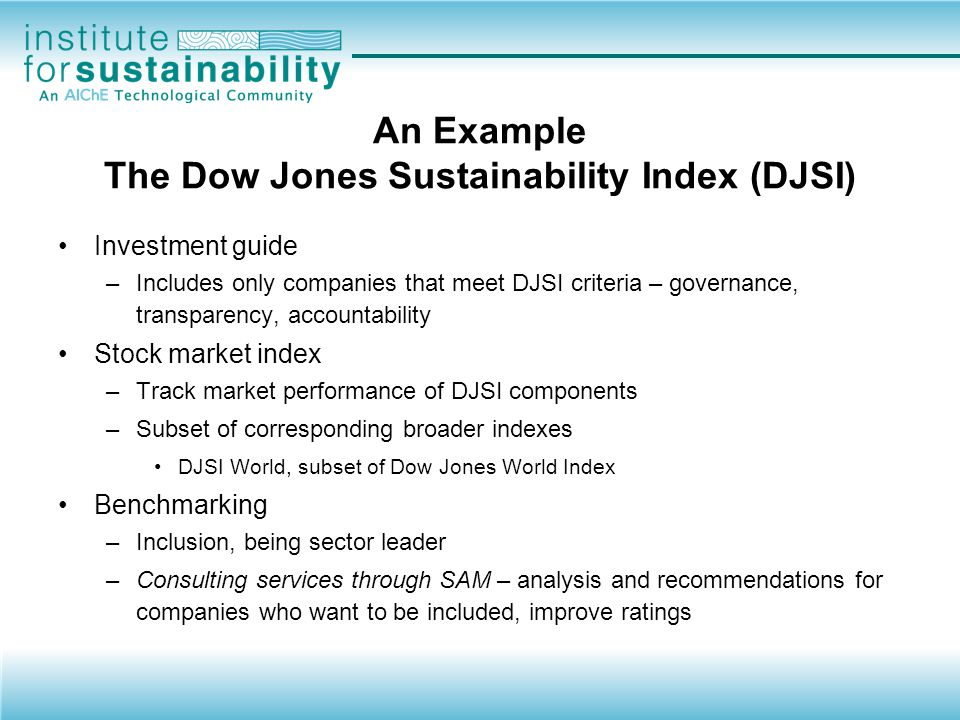 An Example The Dow Jones Sustainability Index (DJSI)