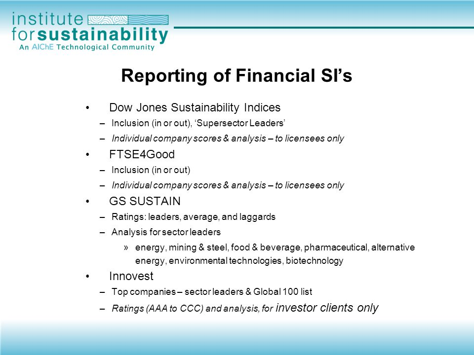 Reporting of Financial SI's