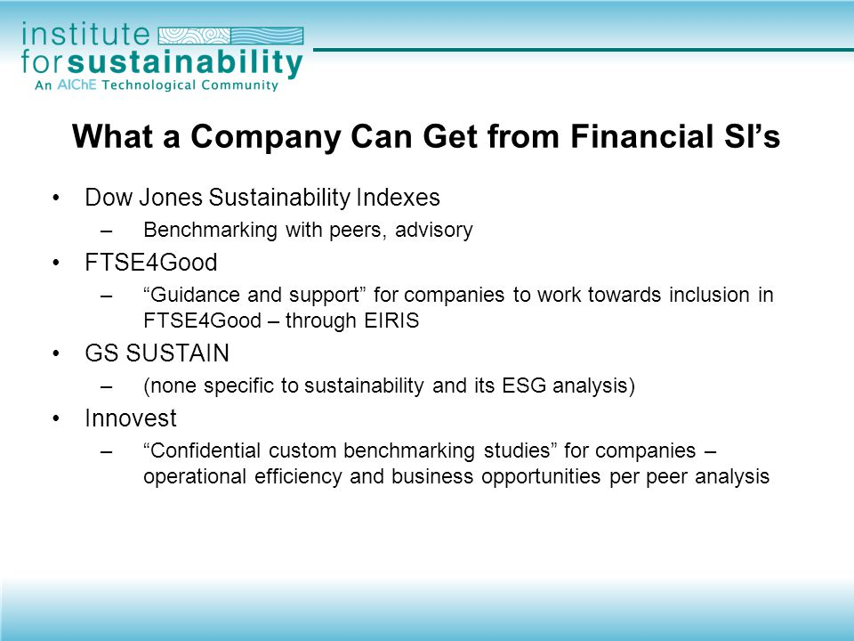 What a Company Can Get from Financial SI's