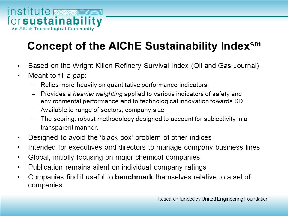 Concept of the AIChE Sustainability Indexsm