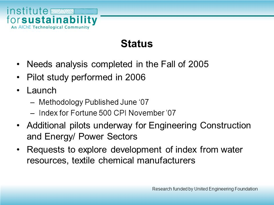 Status Needs analysis completed in the Fall of 2005
