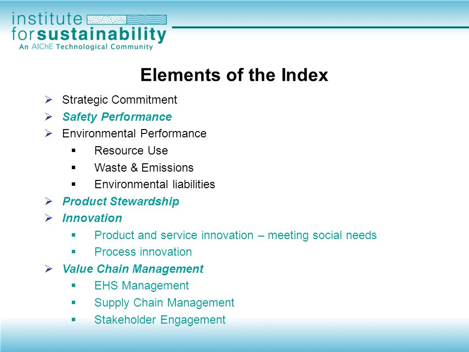 Elements of the Index Strategic Commitment Safety Performance