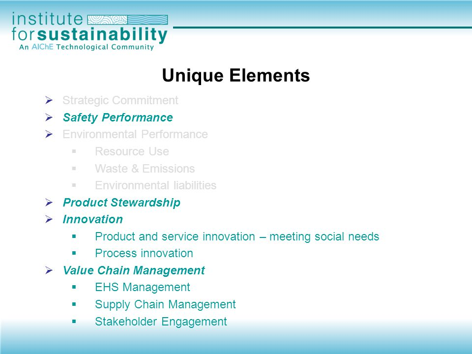 Unique Elements Strategic Commitment Safety Performance