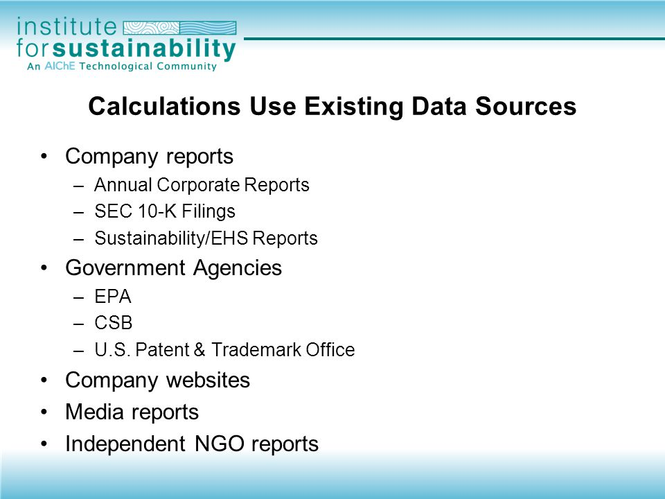 Calculations Use Existing Data Sources