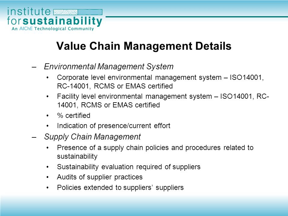Value Chain Management Details