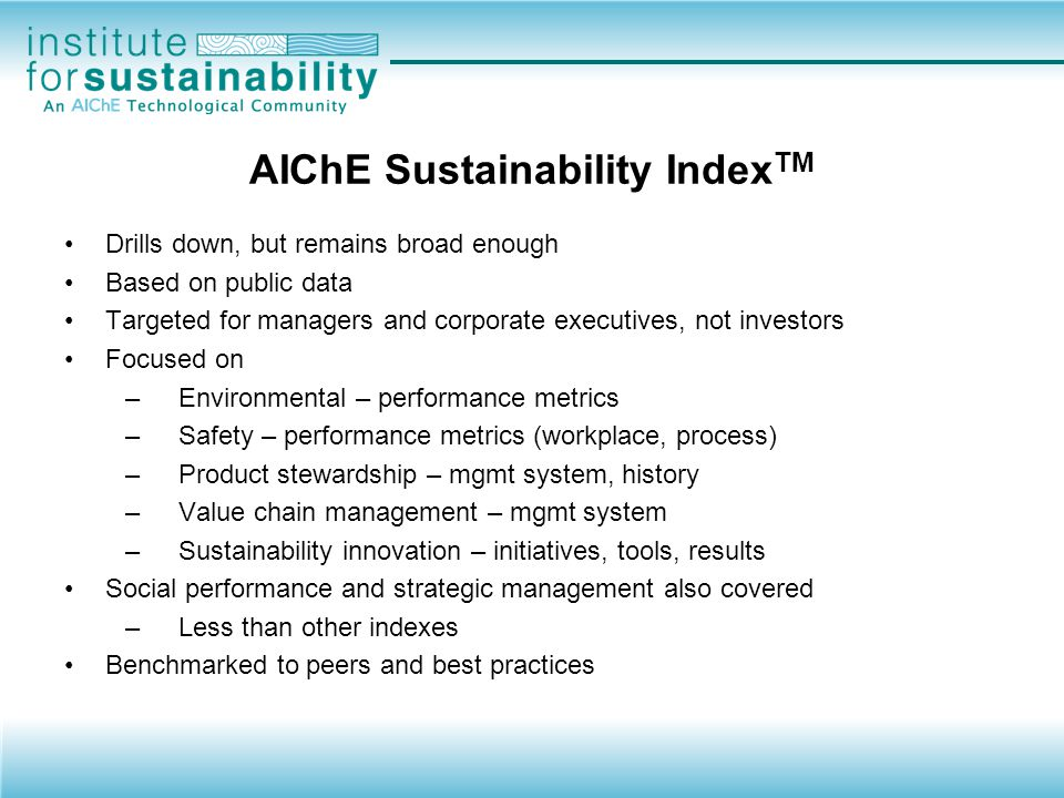 AIChE Sustainability IndexTM