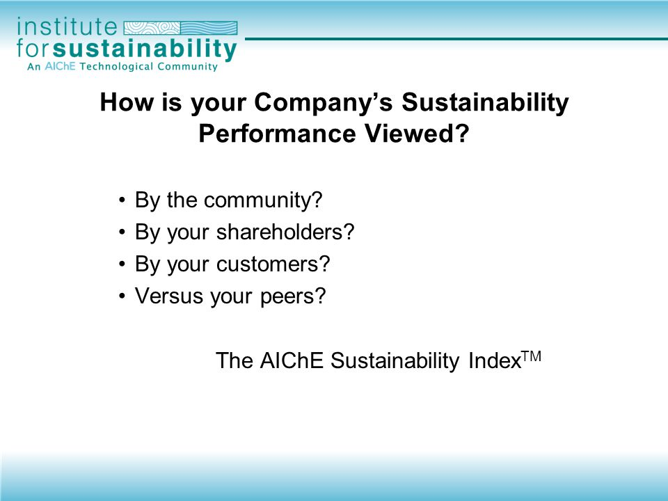 How is your Company's Sustainability Performance Viewed