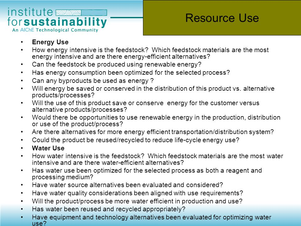 Resource Use Energy Use