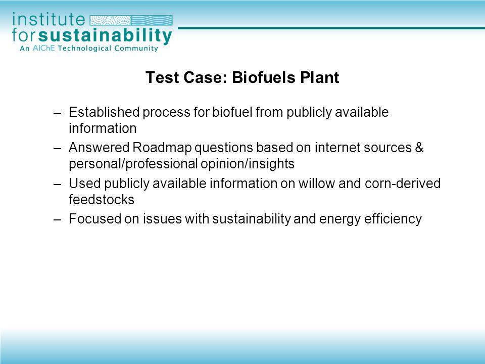 Test Case: Biofuels Plant