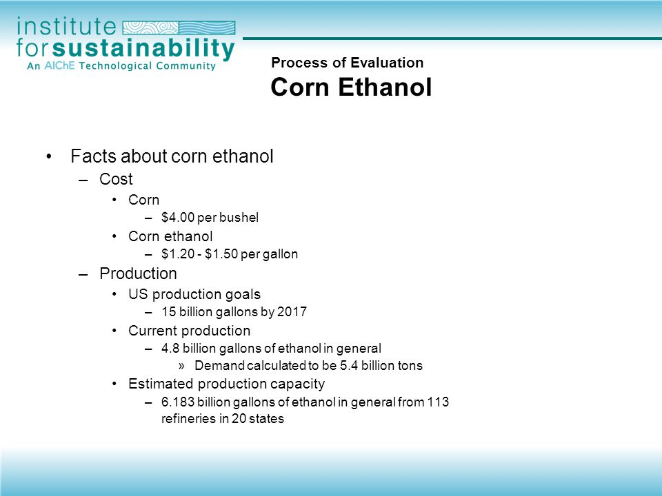 Process of Evaluation Corn Ethanol