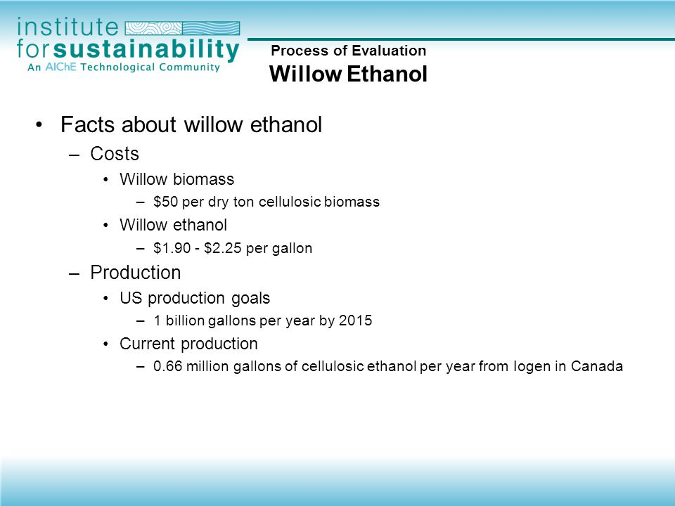 Process of Evaluation Willow Ethanol