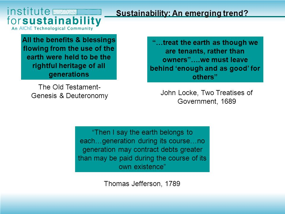 Sustainability: An emerging trend