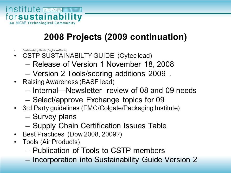 2008 Projects (2009 continuation)