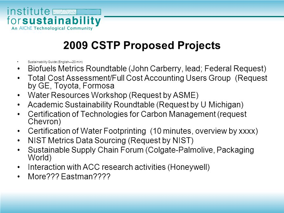 2009 CSTP Proposed Projects