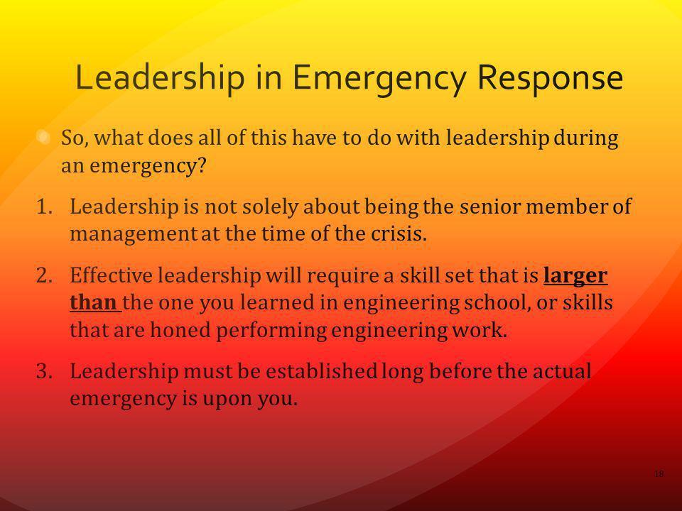 Leadership in Emergency Response