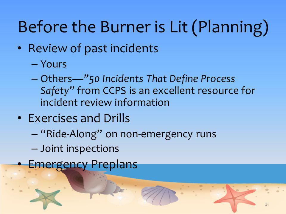 Before the Burner is Lit (Planning)