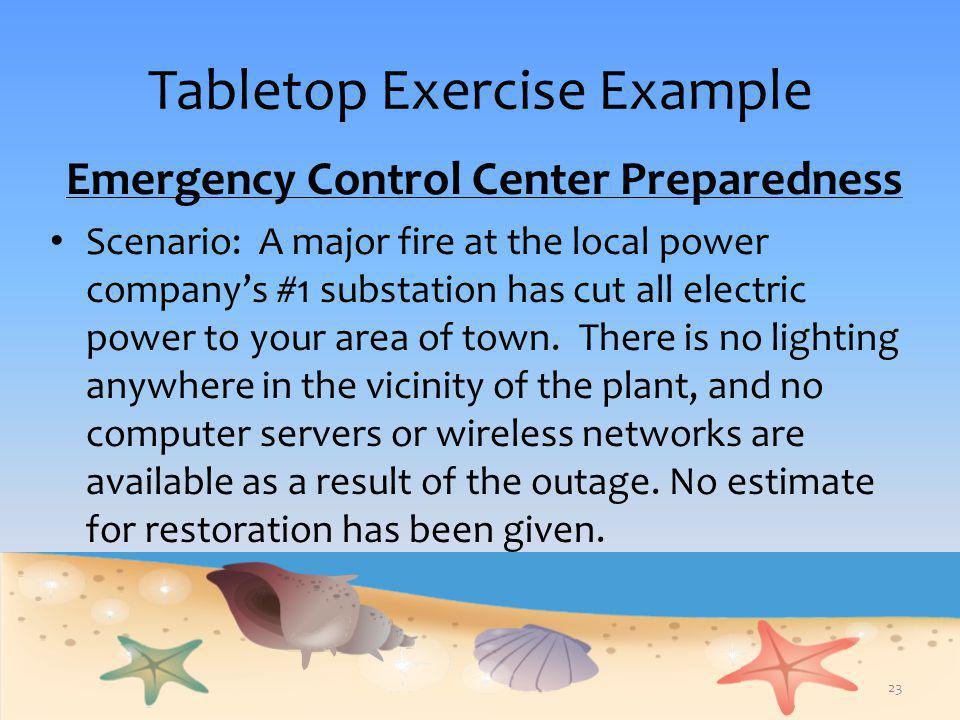 Tabletop Exercise Example