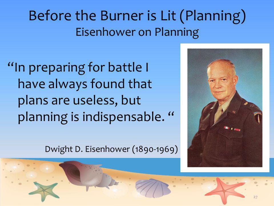 Before the Burner is Lit (Planning) Eisenhower on Planning