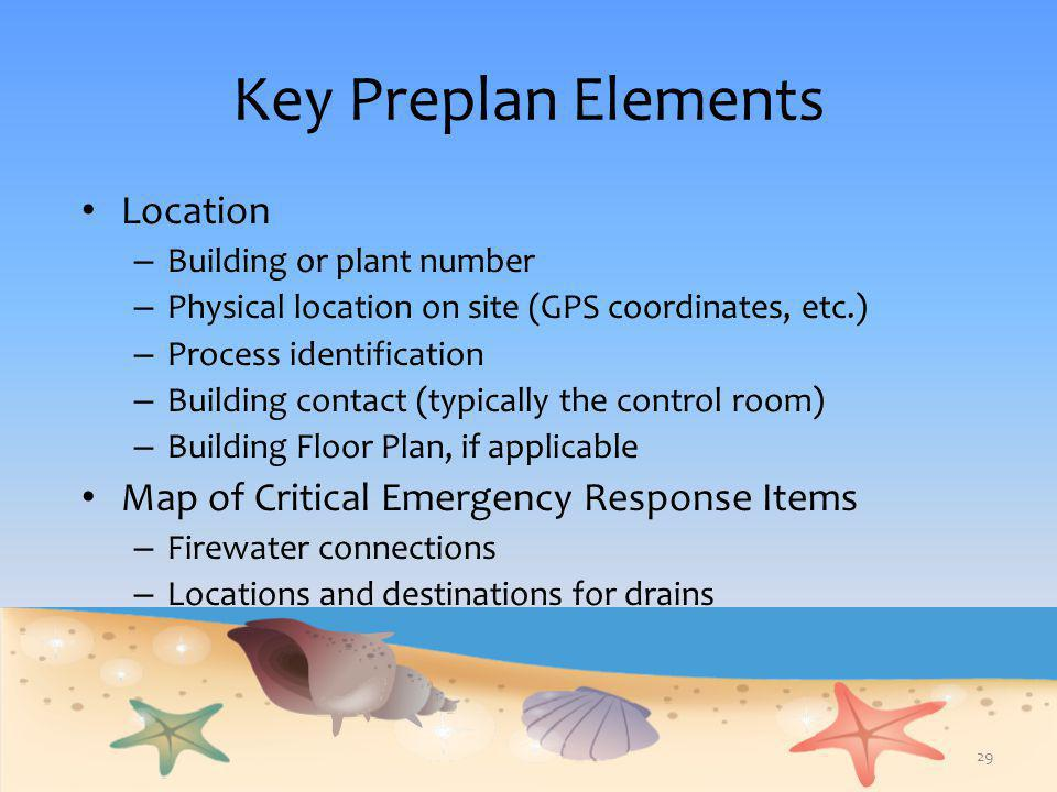 Key Preplan Elements Location Map of Critical Emergency Response Items