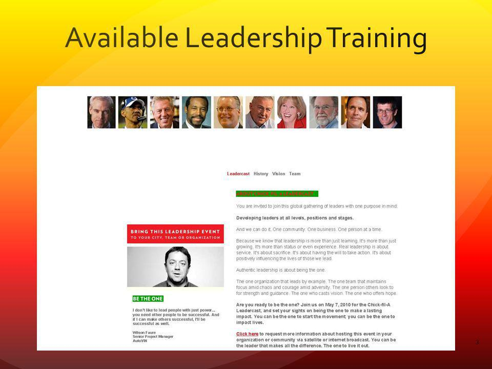 Available Leadership Training