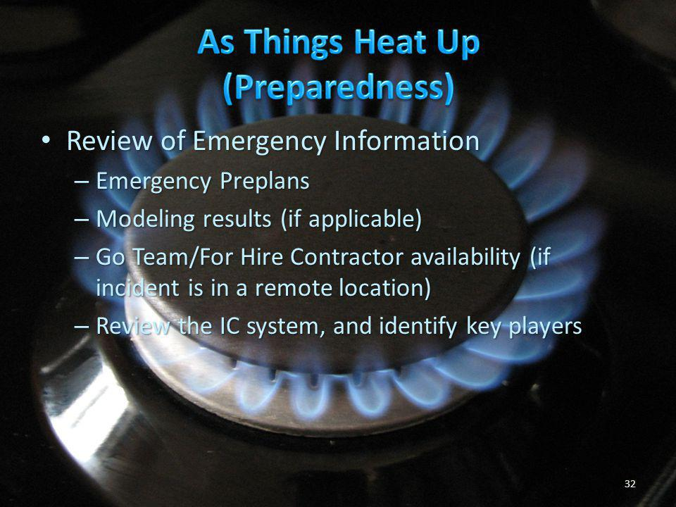 As Things Heat Up (Preparedness)