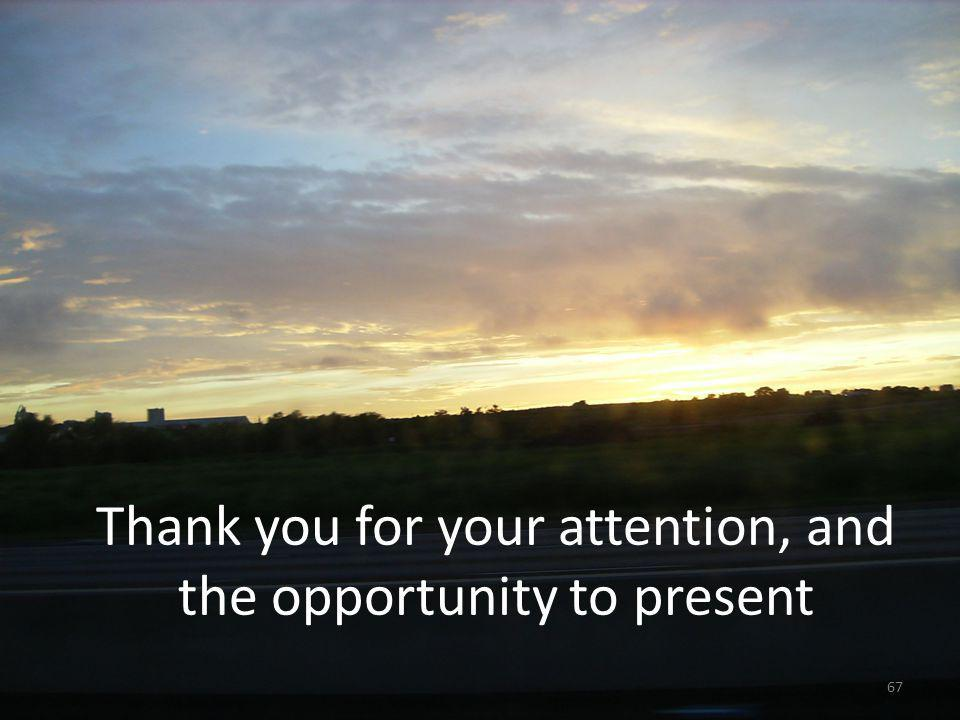 Thank you for your attention, and the opportunity to present