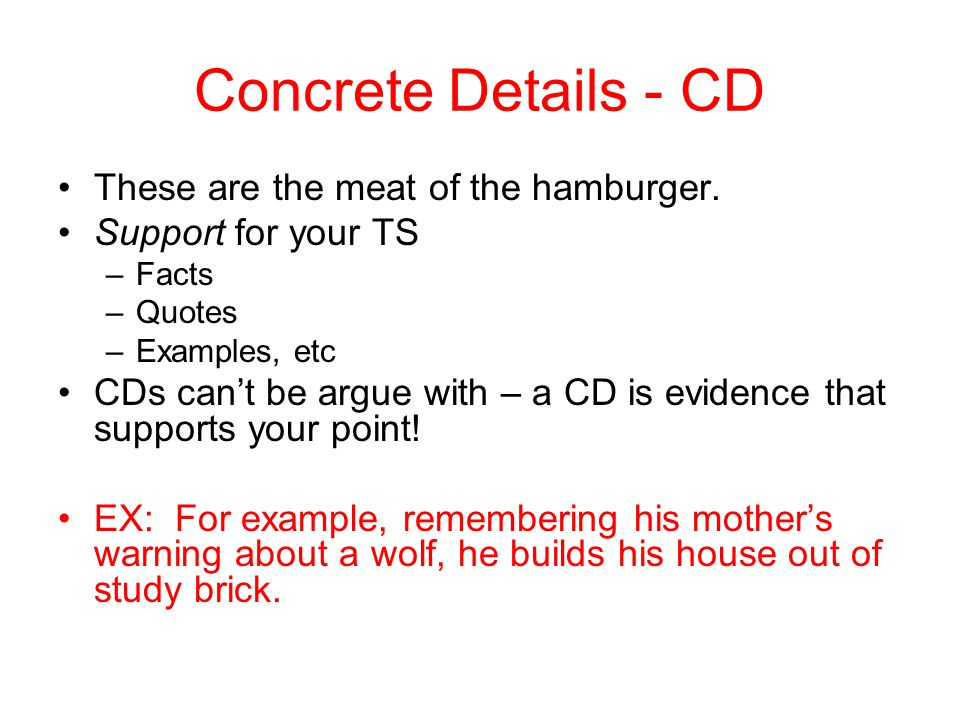 Concrete Details - CD These are the meat of the hamburger.