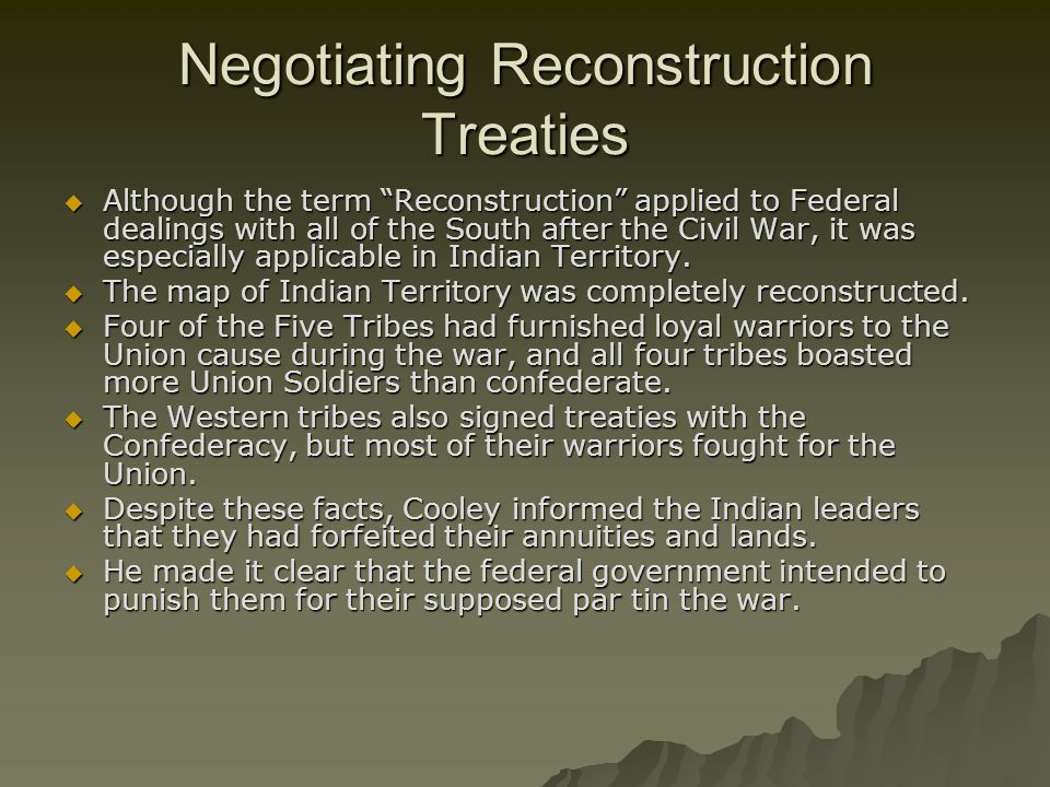 Negotiating Reconstruction Treaties
