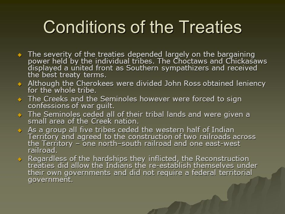 Conditions of the Treaties