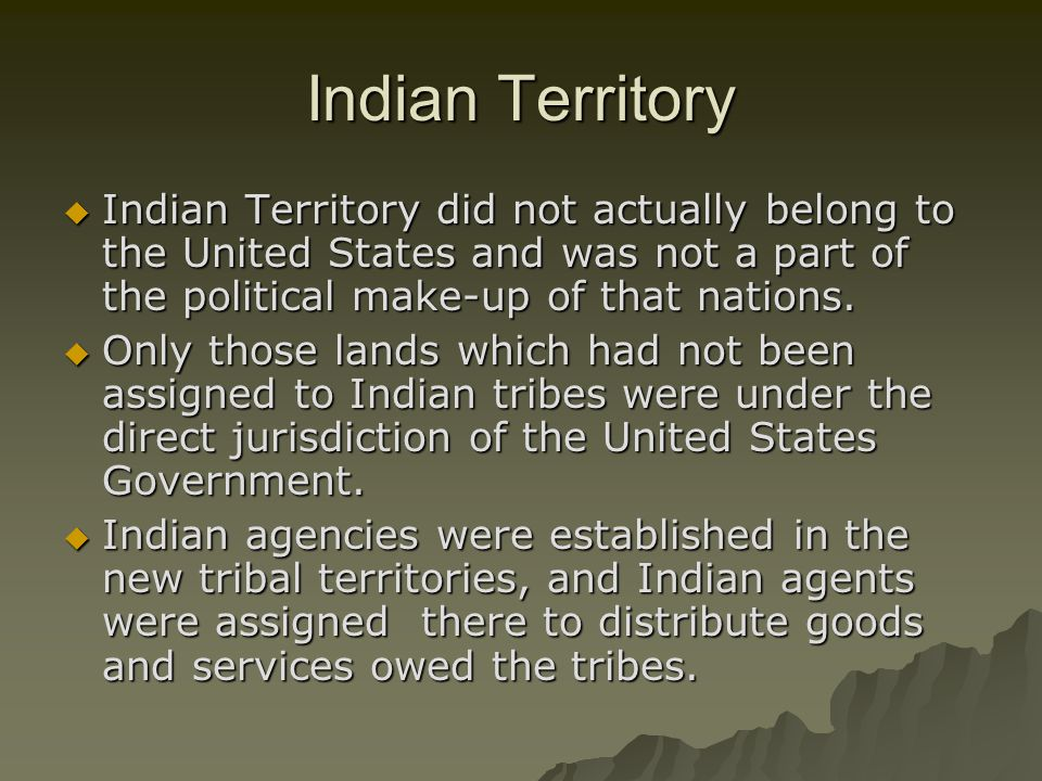 Indian Territory Indian Territory did not actually belong to the United States and was not a part of the political make-up of that nations.