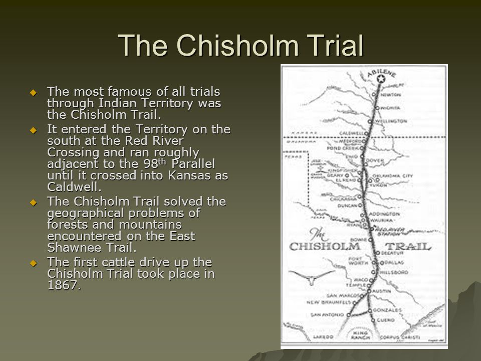 The Chisholm Trial The most famous of all trials through Indian Territory was the Chisholm Trail.