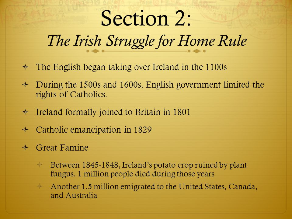 Section 2: The Irish Struggle for Home Rule