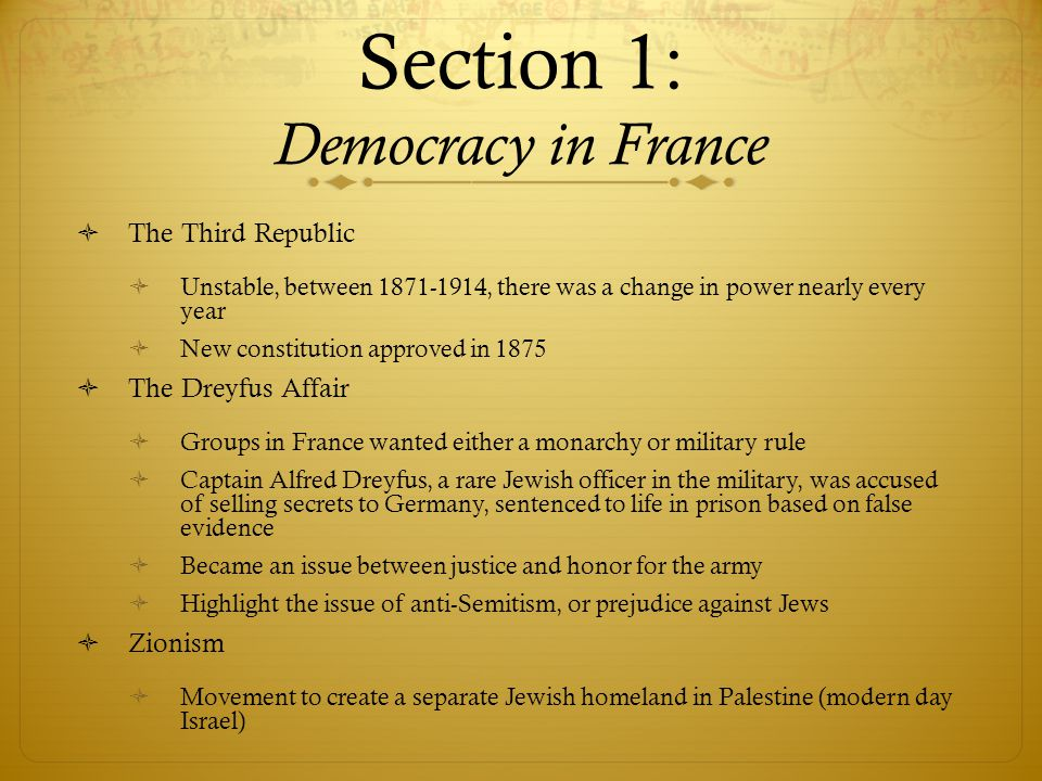 Section 1: Democracy in France