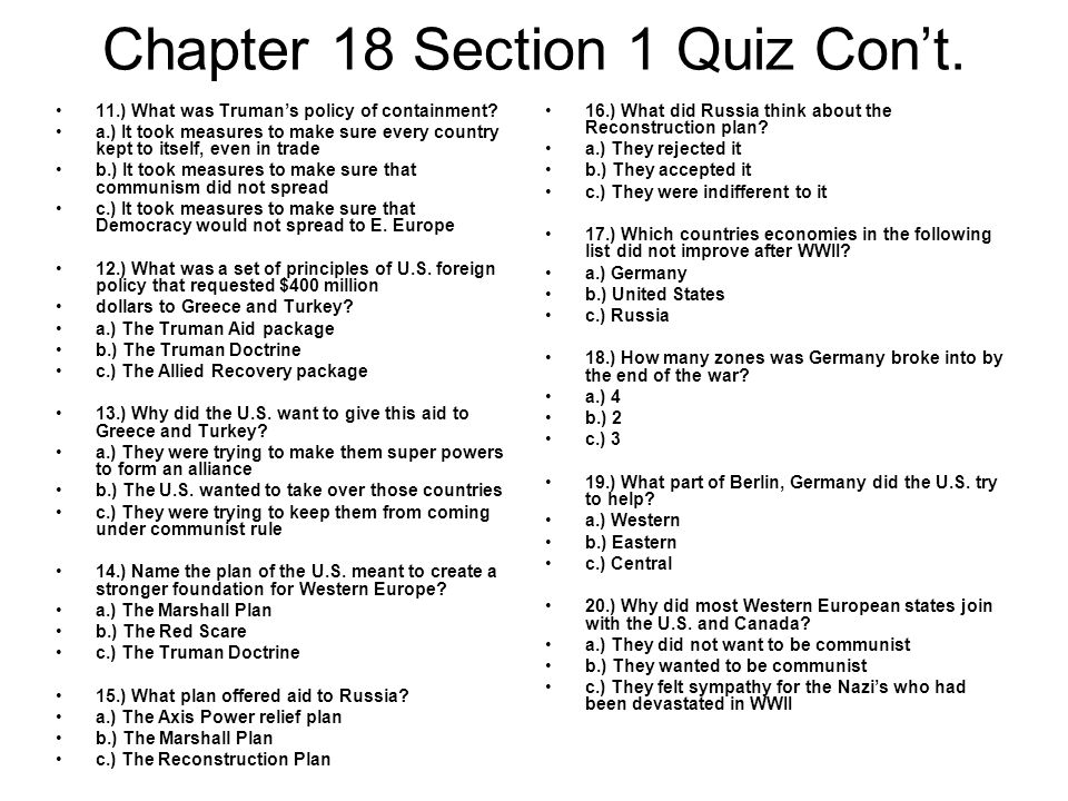 Chapter 18 Section 1 Quiz Con't.