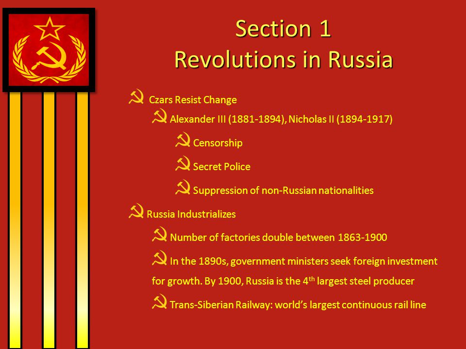 Section 1 Revolutions in Russia
