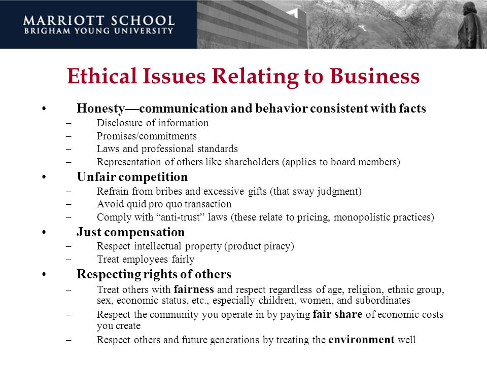 Ethical Issues Relating to Business