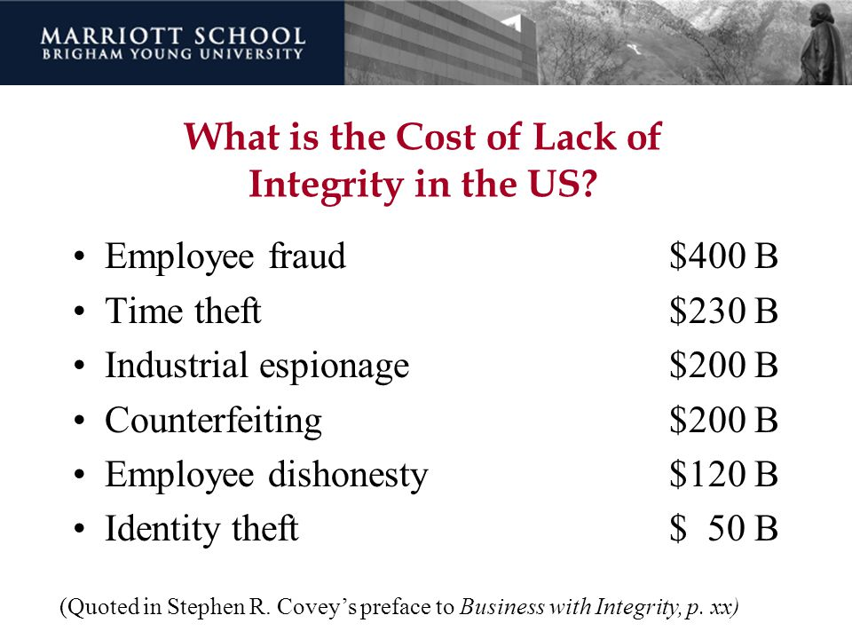 What is the Cost of Lack of Integrity in the US