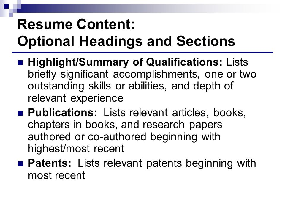 Resume Content: Optional Headings and Sections