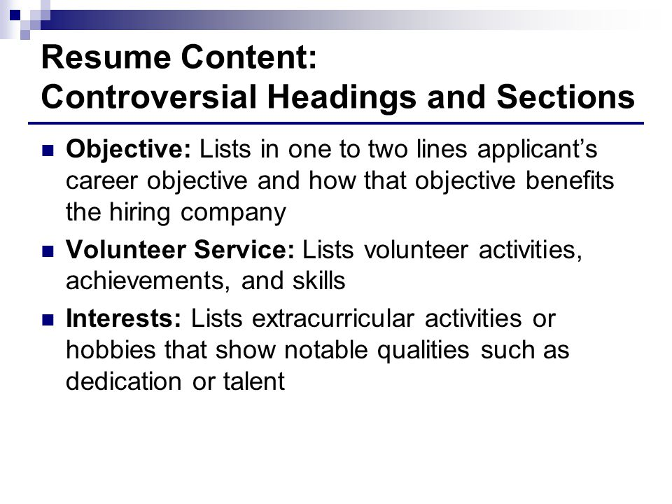 Resume Content: Controversial Headings and Sections