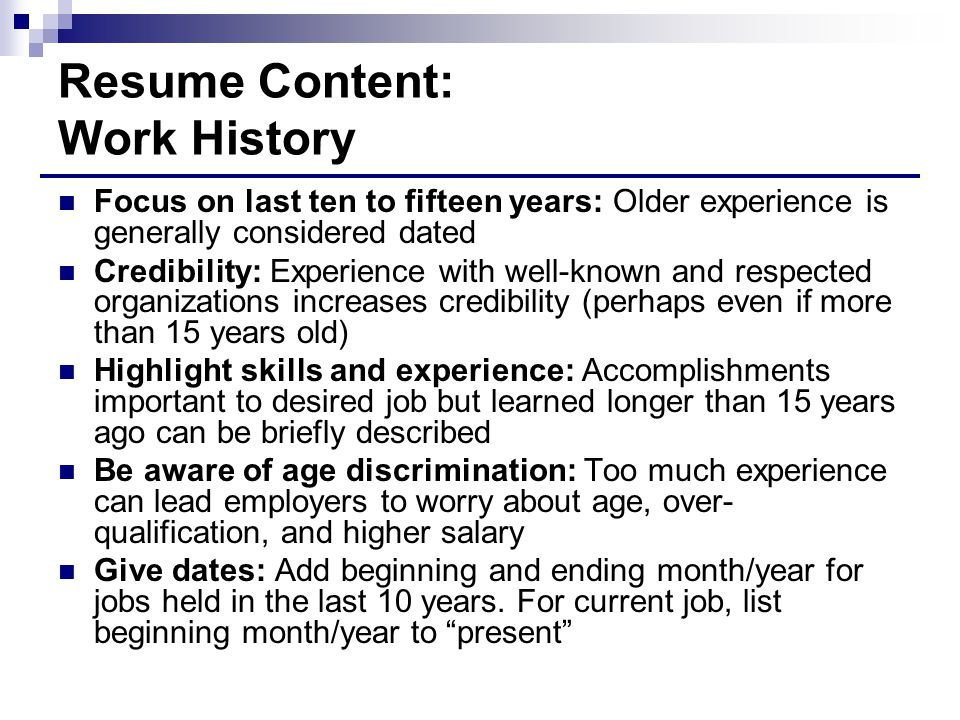 Resume Content: Work History