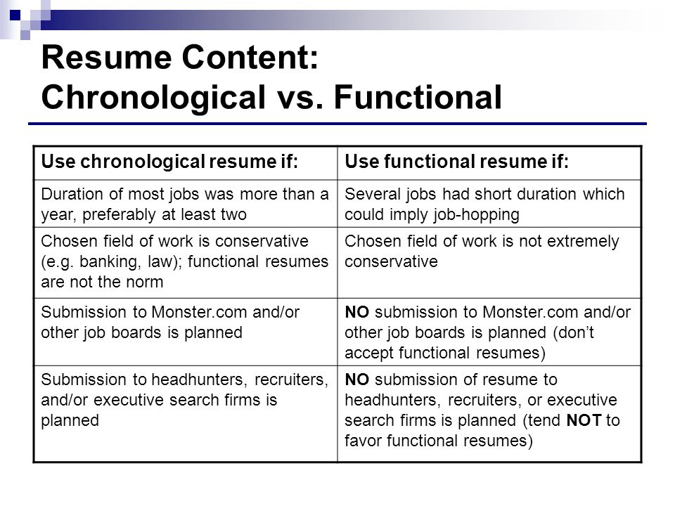Captivating Resume Content: Chronological Vs. Functional In Functional Vs Chronological Resume