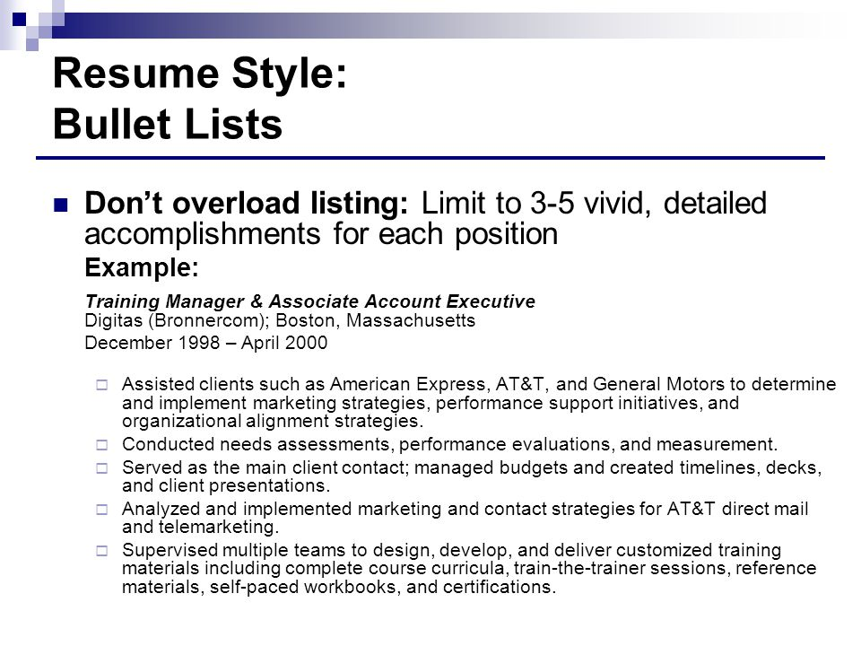 Resume Style: Bullet Lists