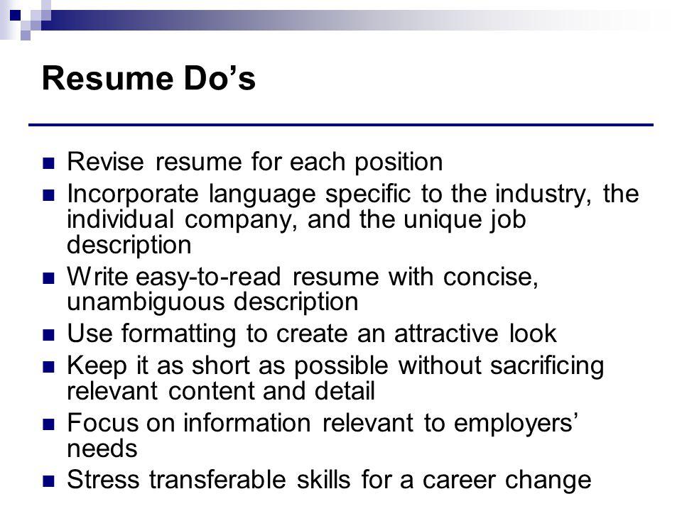 Resume Do's Revise resume for each position