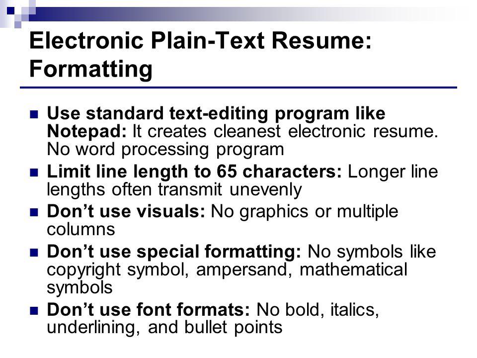 Electronic Plain-Text Resume: Formatting