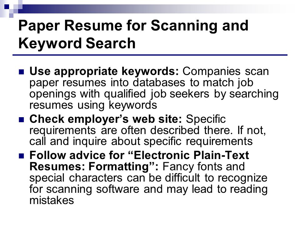 paper resume for scanning and keyword search - Resume Scanning Software