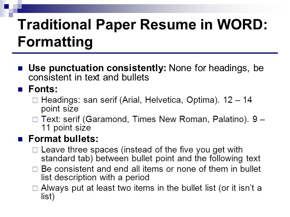 Traditional Paper Resume in WORD: Formatting