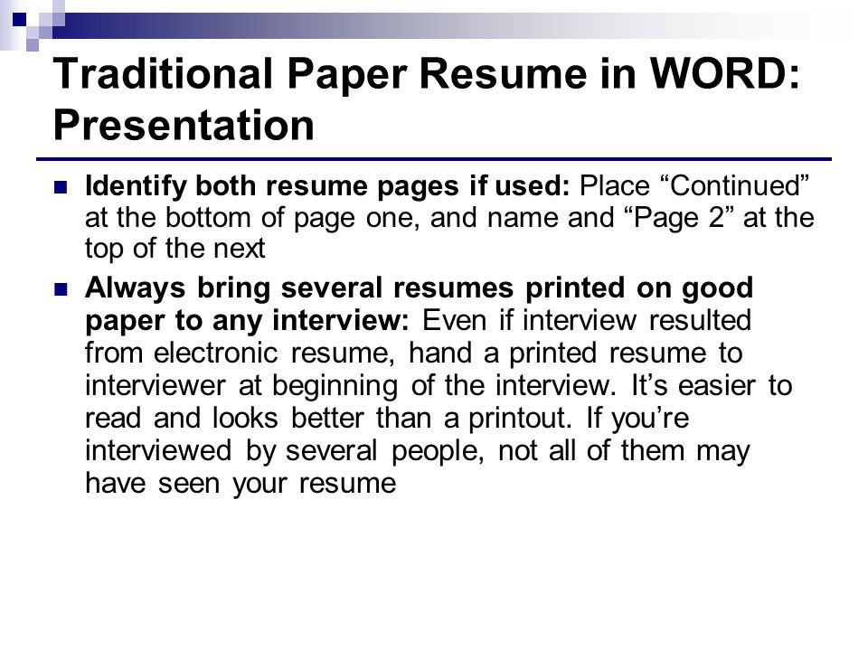 Traditional Paper Resume in WORD: Presentation